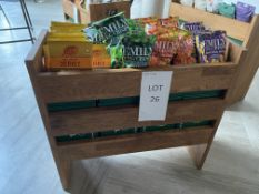 Solid Oak Merchandising Unit (Contents not included) Size H- 660mm x L - 7000mm, W - 300mm