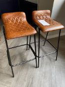 2x Leather Upholstered Bar Stools - New Cost £120 per stool