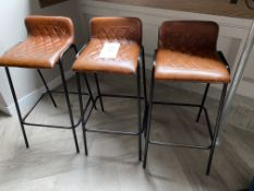 3x Leather Upholstered Bar Stools - New Cost £120 per Stool