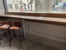 Oak Window-Facing Coffee Bar with one 4 Multi-functioning Plug (USB, 3 Pin, Cat 6 Cable) - Size