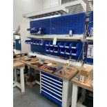 2: Workbences with integrated tool drawers, electrical sockets, lighting and parts bin carriers