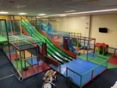 Complete Multi Tier Childrens Adventure Play System Comprising; Four Lane Slide, Single Vertical