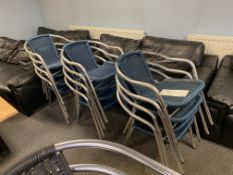 Approx. 12: Aluminium Chrome Bistro Blue Wicker Chairs