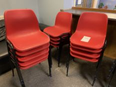 13x Red Plastic Chairs