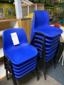 13x Blue Plastic Chairs