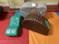 3 Soft Play animal cushions