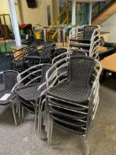 Approx.. 21: Aluminium Chrome Bistro Black Wicker Chairs