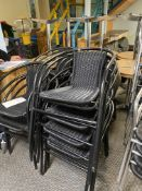 Approx.. 21: Black Chrome Bistro Wicker Chairs