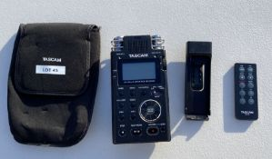 Tascam DR-100Mk II Linear PCM Recorder, with Remote Control with Cover and Carry Case, Serial No.