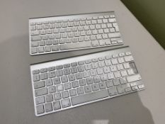 2:Apple Bluetooth Wireless Keyboards Silver/White - One Has Key Missing and Cap to Battery
