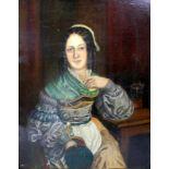 Dame in eleganter TrachtÖl/Leinwand. Porträt einer in Tracht gekleideten Dame, welche an einem
