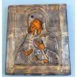 Ikone der Gottesmutter von WladimirEitempera/Holz mit versilbertem Kupferoklad. Darstellung der