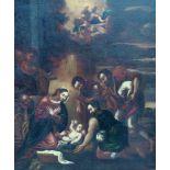 Geburt ChristiÖl/Leinwand auf Holzfaserplatte doubl. Maria und Joseph mit dem Kind, von drei
