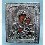 Gottesmutter von SmolenskEitempera/Holz. Silberoklad mit Feingehalt 84 zolotniki, Heiliger Georg und