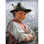 Emil Rau, 1858 Dresden - 1937/40 MünchenÖl/Malkarton. Junge Almbäuerin vor Alpenkulisse. Die