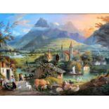 "Carl Ludwig Hoffmeister, 1790 Wien - 1843 ebendaÖl/Metall. Ansicht eines Dorfes, unten links als """