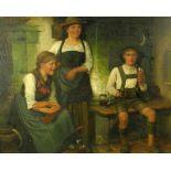 Maximilian Wachsmuth, 1859 Laßrönne - München 1912Öl/Holz. Zwei junge Bäuerinnen in Sonntagstracht