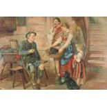 In der BauernstubeÖl/Holz. Miniatur einer bäuerlichen Genredarstellung. Diese farbenfrohe Szene,