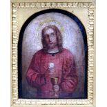 Jesus Christus mit den eucharistischen GestaltenÖl/Leinwand. Kleines Gemälde im Halbrund, Christus