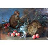 Küchenstillleben mit AffeÖl/Leinwand. Dieses altmeisterliche Gemälde zeigt einen umgestoßenen Korb