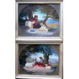 Zwei Hirtendarstellungen als GegenstückeÖl/Leinwand. Die beiden Gemälde zeigen in einem ovalen