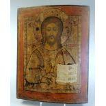 Russische Ikone des PantokratorTempera/Kreidegrund/Holz. Darstellung Christi, die rechte Hand zum