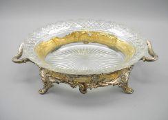 Silberne Servierschale mit Glaseinsatz