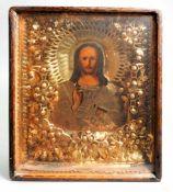 Ikone des Christi PantokratorTempera auf Kreidegrund/Holz, polychromstaffiert. Frontal