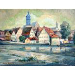 Erwin Enderle, 1911 Backnang – 1994 PfedelbachÖl/Leinwand. Eine süddeutsche Stadta