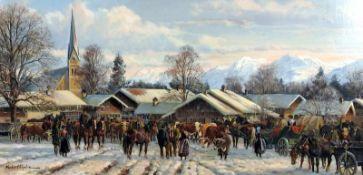 Hubert Kaplan, 1940 MünchenÖl/Holz. Viehmarkt im Winter. Auf einem verschneiten Dorf
