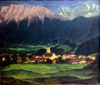 Otto Grassl, 1891 München – 1976 DachauÖl/Leinwand. Ansicht eines Dorfes vor hohen