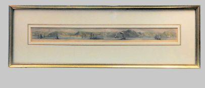 Uferansicht des RheinsKolorierter Kupferstich/Papier. Dargestellt ist das rechte Ufer