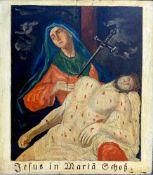 Fünf KreuzwegstationenÖl/Holz. Gemälde aus den Kreuzwegstationen, darunter Jesus in