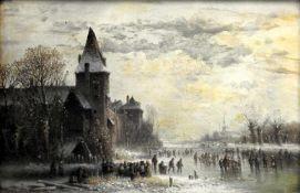 Anton Doll, 1826 München - 1887 ebendaÖl/Leinwand. Eisvergnügen auf einem gefrorene
