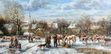 Anneliese Ladas, 1941 OberbayernÖl/Holz. Viehmarkt auf einem verschneiten Dorfplatz.