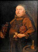 Bildnis eines MönchesÖl/Leinwand. Ein Mönch in dunklem Interieur mit einem Krug und