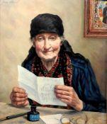 BriefschreiberinÖl/Holz. Dargestellt ist eine alte Frau in einem farbenprächtigen Ge