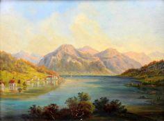 Zwei Ansichten von TegernseeÖl/Holz. Ansichten des Sees von Gmund und von Kaltenbrunn