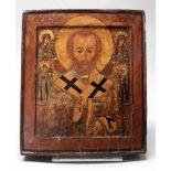 Ikone Heiliger Nikolaus von MyraTempera auf Kreidegrund/Holz, polychrom und goldstaffi