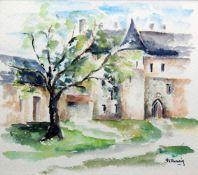 Ansicht eines KlosterhofesAquarell/Papier. Ansicht eines Klosterhofes. Unten rechts si