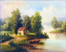LandschaftsgemäldeÖl/Leinwand. An einem See steht ein kleines Haus mit rauchendem Ka