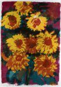 Rainer Fetting1949 WilhelmshavenSonnenblumenFarblithografie auf Papier; H 1220 mm, B 86