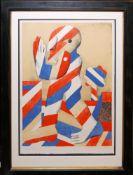 Horst Antes, Streifenfigur, signierte Farblithographie von 1968, Atelierrahmen mit