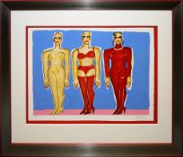 Elvira Bach, Drei stehende Frauen, signierte Farblithographie, Atelierrahmen mit Museumsglas