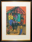Hans Brasch, Zirkus- Szene, expressionistisches Aquarell von 1932 , gerahmt