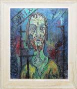 Bruno Bieth, Expressives Porträt eines Mannes, Ölgemälde von 1957 im Originalrahmen<br