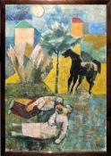 Gabriele Cena, Mediterrane Landschaft mit ruhendem Bauernpaar und einem Pferd, Ölgemälde, 1940/