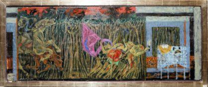 Jean Bertholle, Bühne mit Reitern und bewaffneten Fahnenträgern, Ölgemälde, Galerierahmung<b