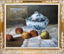 Louis-Gustave Cambier, Stillleben mit Suppenterrine und Äpfeln, Ölgemälde, originaler