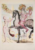 """Salvador Dalí, """"Le Cavalier cosmique"""", signierte Mischtechnik (Radierung/Farblithographie/"""